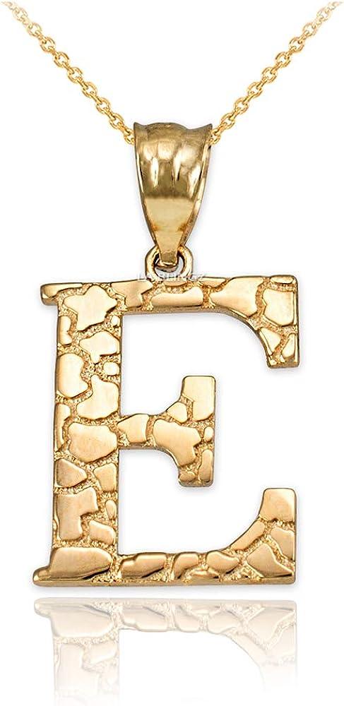 LA BLINGZ Super beauty product restock Nashville-Davidson Mall quality top 14K Yellow Gold Letter E Initial Necklace Nugget