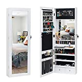 BonnloLockable Jewelry Cabinetwith 95 LED Lights, Space-Saving Storage Jewelry Armoire Wall & Door Mounted with Mirror, Hanging Jewelry Organizer Box with Inner Mirror and Large Storage Capacity
