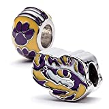 Louisiana State University Charm | LSU Tigers - Tiger Eye Bead and Tiger Paw Charm | Officially Licensed Louisiana State University Jewelry | LSU Gifts | LSU Football | Stainless Steel