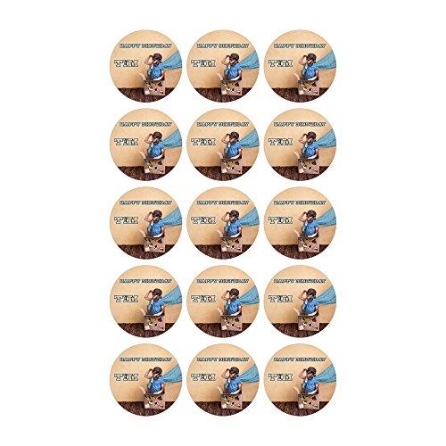 Tortenaufleger mit Wunschfoto und Wunschtext Geburtstag Tortenbild Zuckerbild Oblate Tortenplatte mit eigenem Foto und Text (Zuckerpapier Muffinaufleger 15 Stück a 5cm)