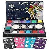 Palette de Maquillage de Fête, Dookey 16 Couleurs Peinture de Visage, Palettes de...