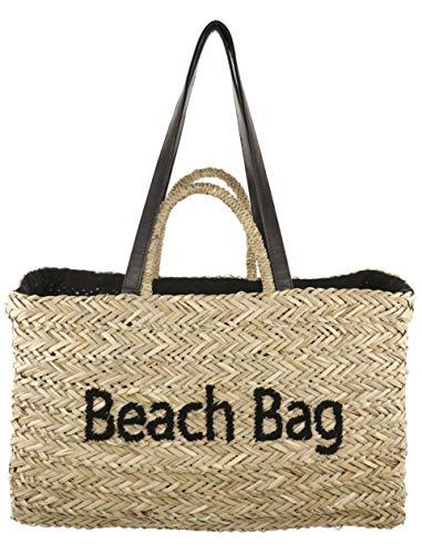 Camomila Milano - Bolso de paja para playa, color negro