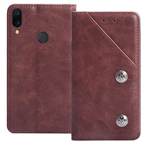 YLYT Antichoc Étui TPU Silicone Couverture Rouge Cuir Housse Coque pour SFR Altice S62 6.088 inch Case Portefeuille Cover Fentes Cartes Rabat