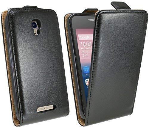 ENERGMiX Klapptasche Schutztasche kompatibel mit Alcatel Pixi First 4024D in Schwarz Tasche Hülle