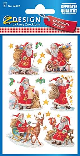 AVERY Zweckform 52402 Weihnachtssticker Weihnachtsmänner 18 Aufkleber