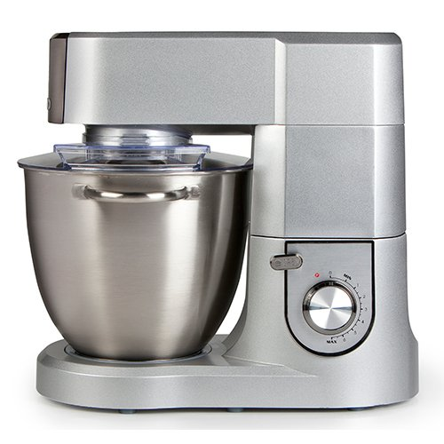Keukenmachine met een schaal van 6,7 liter van geborsteld roestvrij staal, inclusief kneedhaak, garde, garde met variabele toerentalregeling en pulsfunctie, zilver Domo DO9079KR