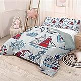 Helloleon - Juego de 3 fundas de edredón y 2 fundas de almohada (1 funda de edredón y 2 fundas de almohada), diseño de gaviotas de mar, color azul y rojo