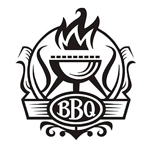 IOIUG Cocina Barbacoa Insignia DIY Pegatinas de Pared Cocina Cartel de Pared Vinilo Decoración Parrilla con Pegatinas de Fuego Decoración Café Bar Decal Mural 58X64Cm