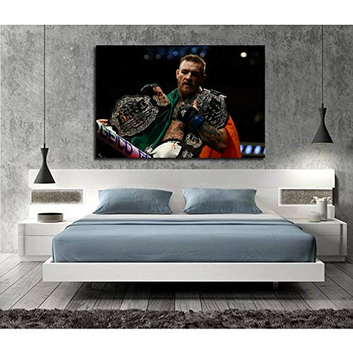 panggedeshoop Conor Mcgregor Irish MMA UFC Featherweight Champion Motivational Blanco Y Negro Wall Art Canvas Painting Dormitorio Decoración Picture40X60CM