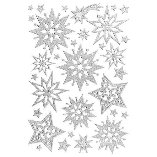 Ideen mit Herz 3-D Sticker Deluxe | Winter & Weihnachten | Erhabene Aufkleber | ideal für Weihnachts-Deko & Weihnachtskarten basteln | Bogengröße: 21 x 30 cm (Sterne | Silber)