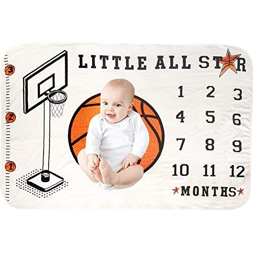 illikkuyax Baby Monthly Milestone Blanket, 40×60 Inches Infant Newborn First Year Basketball Milestone Blanket, Flannel Fleece, Best, Photography Backdrop Photo Prop for Newborn Boy Girl