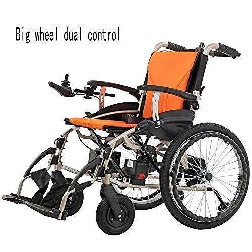 Kompakter Elektrorollstuhl mit MittelantriebLite Cruiser Deluxe - Mobilitätshilfe Intelligente elektronische Bremse Kann im Flugzeug SeinKann in die U-Bahn gehen Manueller Rollstuhl,Yellowdual,Con