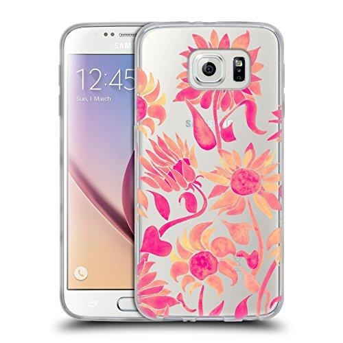 Head Case Designs Oficial Cat Coquillette Acuarela de Girasol Rosa Florales 2 Carcasa de Gel de Silicona Compatible con Samsung Galaxy S6