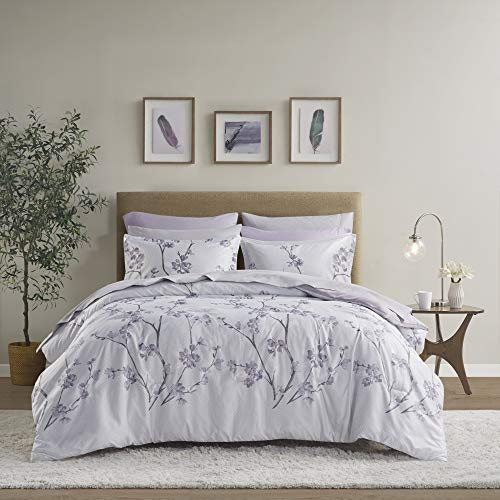 Comfort Spaces Bed in A Bag - Trendy Casual Design Cozy Comforter with Complete Sheet Set with Side Pocket, All Season Cover, Matching Shams, Queen(90'x90'), Kate, Grey/Purple 9 Piece