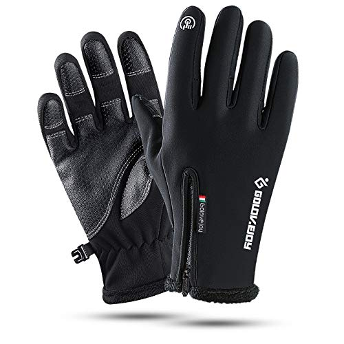 Golovejoy Amazing 7 Touch Screen Novelty Women's Men's Gloves, Outdoor Recreation Winter Warmest Waterproof Windproof, Cycling Climbing Skiing, with High-Density Nylon Fabric Fleece Liner (Black, M)