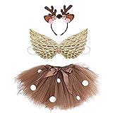 BING FENG 3 unids/Set Ciervo marrón Falda de niña Traje de Navidad Niños Reno Falda de Tul for el Carnaval de Halloween Traje for niños (Color : Brown, Size : XXL)