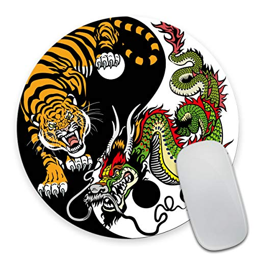 Smooffly Round Gaming Mouse Pad Custom Design, Dragon and Tiger Yin Yang Symbol of Harmony and Balance Non-Slip Rubber Mouse Pads Cute Mat