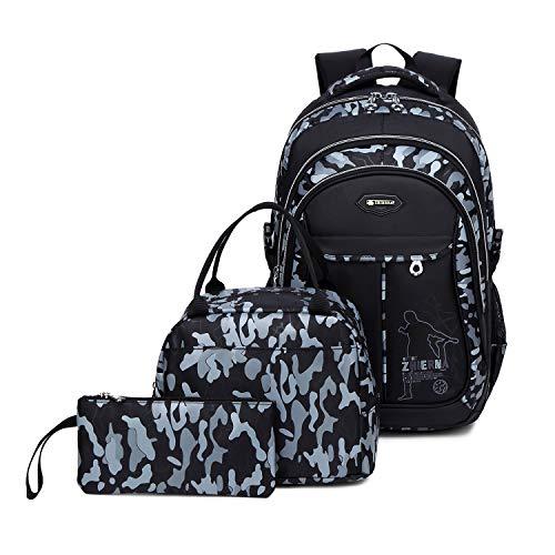 Abshoo Cool Boys School Backpacks For Elementary Backpack Middle School Bookbag (Black Grey Set)