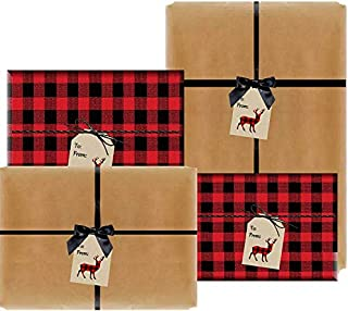 Set of 4 (2 Natural Kraft and 2 Red & Black Christmas Buffalo Plaid Lumberjack) Holiday/Christmas Deluxe- Gift Wrap Wrapping Paper with Gift Tags