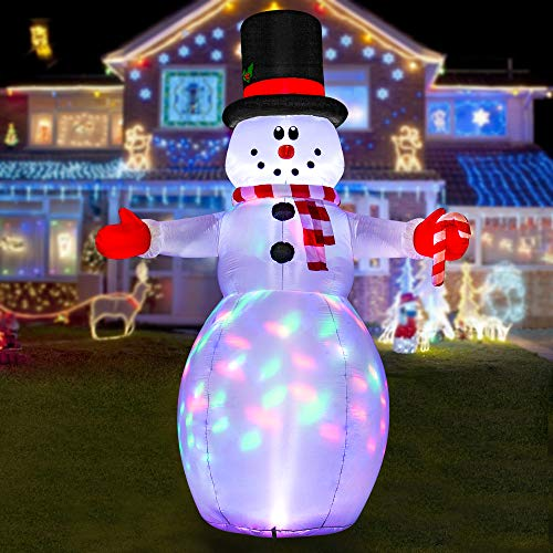 HOOJO 10 FT Christmas Inflatable Snowman Outdoor Decoration with Build in LEDs, Blow up Indoor, Yard, Garden Lawn Decoration
