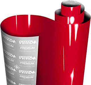 VViViD+ Ultra Gloss Candy Red Vinyl Car Wrap Premium Paint Replacement Film Roll with Nano Air Release Technology, Stretch...