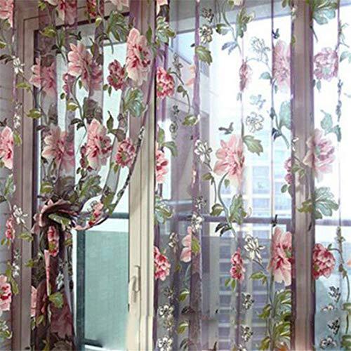 Snner 100 * 200cm Elegante Gardinen Blumen Tüll Voile Türfenstervorhang drapieren Panel-Gardinen