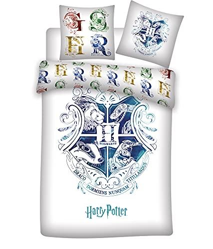 lenzuola harry potter 1 piazza e mezza Harry Potter Hogwarts Set Copripiumino Reversibile 155x200 cm + Federa 50x80 cm 100% Cotone