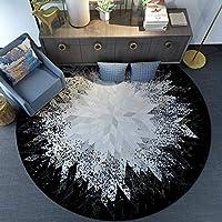 丸いカーペットは小さく、廊下のカーペットは滑り止め、静電気防止、丸いシャワーマット、モダンなベッドサイドカーペット、厚さ6mm、装飾的なカーペットで、子供部屋/キッチン/リビングルームで使用されます。,Diameter=160cm/63in