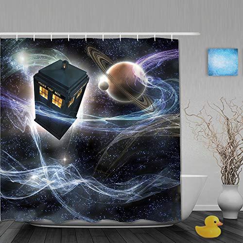VICAFUCI Duschvorhang 180 * 180,Doktor, der Tardis Dans sternenklaren Fantasy-Hintergrund,Wasserabweisend Shower Curtain mit 12 Duschvorhangringen
