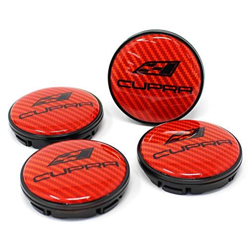 Finest Folia 4X Nabendeckel Cupra 55mm ABS Kunststoff OEM Qualität Gel Emblem Aluminum Deckel (Carbon Rot, Schwarz Eloxiert)