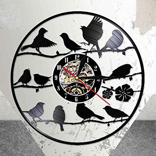 fdgdfgd Pájaro Negro Retro Reloj de CD de pie en la Rama 3D con retroiluminación LED decoración Retro   Decoración del hogar única
