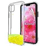 OKZone Cover iPhone 11 PRO Max (6,5 Pollici), 3D Glitter Liquido Brillantini Sequin Copertura Fluttuante Quicksand Scintillio Protettiva Custodia per Apple iPhone 11 PRO Max (Giallo)