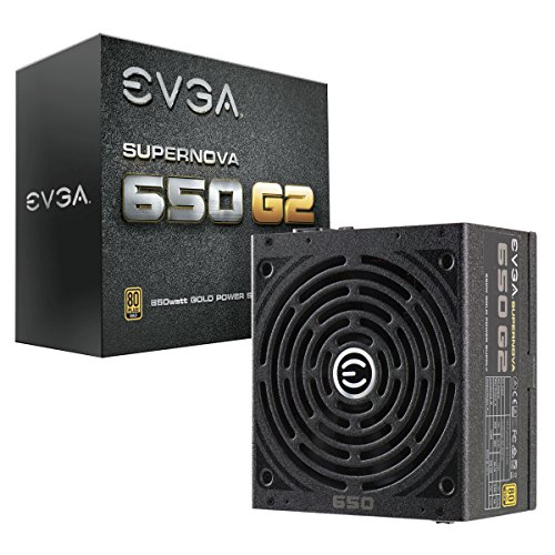 EVGA SuperNOVA 220-G2-0650-Y1, 650 G2, 80+ GOLD 650W, Fully Modular, EVGA ECO Mode, 7 Year Warranty, Includes FREE Power On Self Tester Power Supply,Black