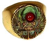 Elaine Coyne Patina Egyptian Motif Wearable Art Scarab Ring - Carnelian