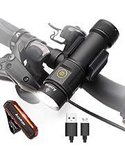 ACHICOO 自転車ライト 防水 USB充電・電池 高輝度1000LM LEDヘッドライト テールライト付 パワーバンク機能