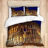 VINISATH Juego de Ropa de Cama de 3 Piezas Microfibra,Anfiteatro Azul Coliseo Romano Noche Roma Arco Famoso Arqueología Arquitectura Copia Ciudad Flavia (200x200cm) y 2 Funda de Almohada (50x80cm