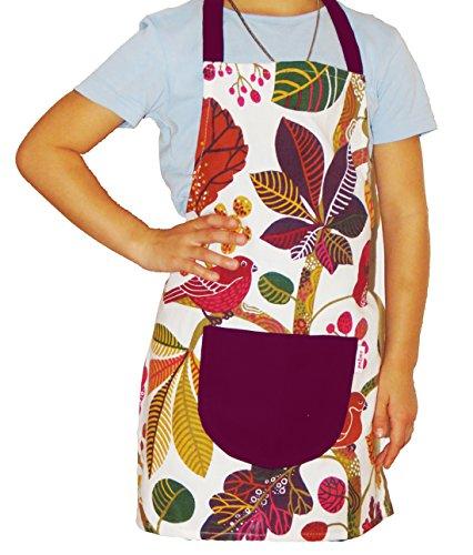 Beties Forêt Enchantée Tablier pour enfant 100% coton pour petite dans la cuisine longue durée & la peau couleur (Ivoire Ustensiles de Multicolore) 1 pièces