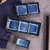 JZTOL Cerámica Dividida Plato Plato Plato Plato Plato Plato Plato Plato Plato Sabor Plato Tres Cuadrícula Plato Hotel Restaurante Bocadillo Plato (Size : S)