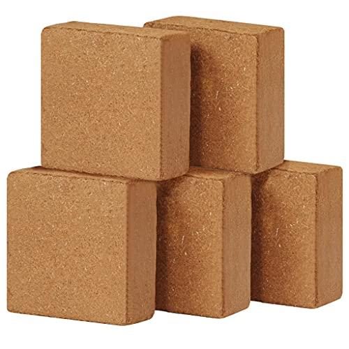 Ksodgun Bloques de Fibra de Coco 5 Piezas de Ladrillos de Humus, Tierra de siembra, Tierra para macetas para Habitaciones, balcón 5 kg, 30 x 30 x 10 cm