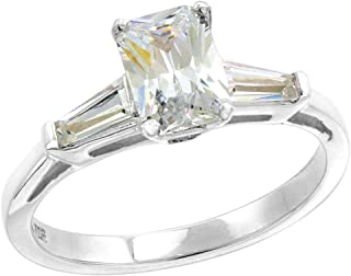 Sterling Silver CZ Tapered Baguette 3-Stone Radiant Cut Engagement Ring for Women 1 ct, Sizes 6-10