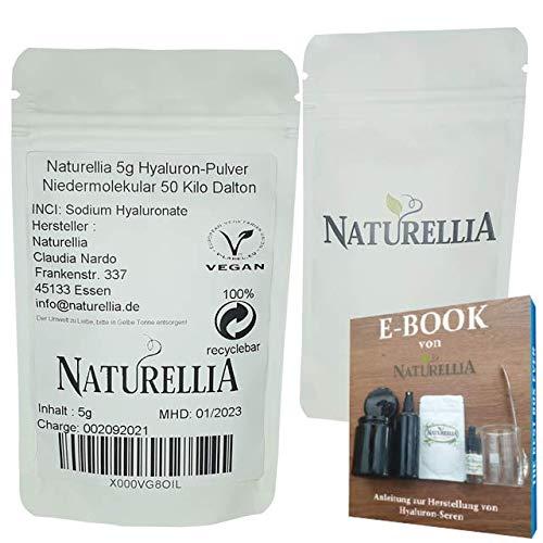 Naturellia Acido Hialuronico Polvo 5 Gramos 50 k-Dalton Altamente Concentrado - Bajo Peso Molecular Para el Efecto de Superficie - Solo Mezclar una Crema Antienvejecimiento en el Hogar