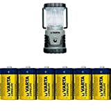 Varta 4 Watt LED Camping Lantern mit Varta Longlife Batterie Mono D LR20 (6er Pack)