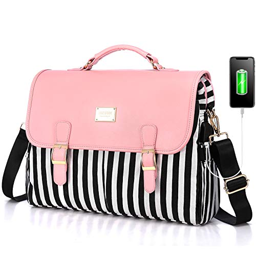 LOVEVOOK Laptop Bag for Women Large Capacity Computer Bags Cute Messenger Bag Briefcase Business Work Bags Purse, 15.6inch, Pink-Pro