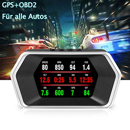 Head Up Display Auto, iKiKin Auto HUD Display OBD2+GPS LCD Head Up Display Geschwindigkeitsmesser Auto Höhe Überdrehzahlalarm für Allen Auto