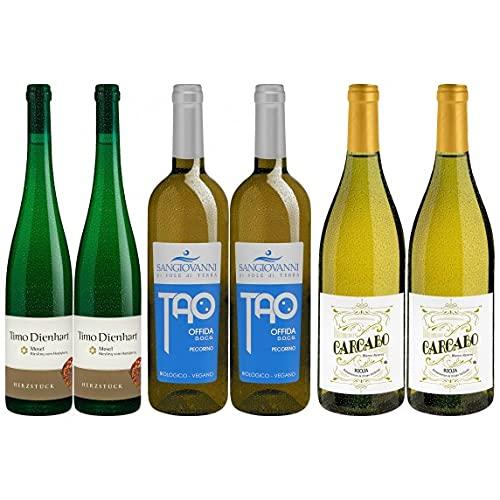 Weinpaket «3x2 Exklusive Weissweine», Riesling, Verdejo, Pecorino im Holzfass gereift. Biowein von DELINAT – Wein aus reicher Natur (6 x 0,75l)