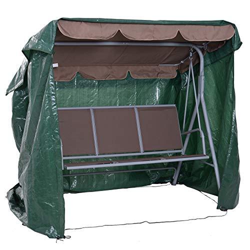 Outsunny Copertura per Mobili da Giardino Impermeabile Anti UV Anti Muffa con Fissaggio PE 215x155x150cm Verde