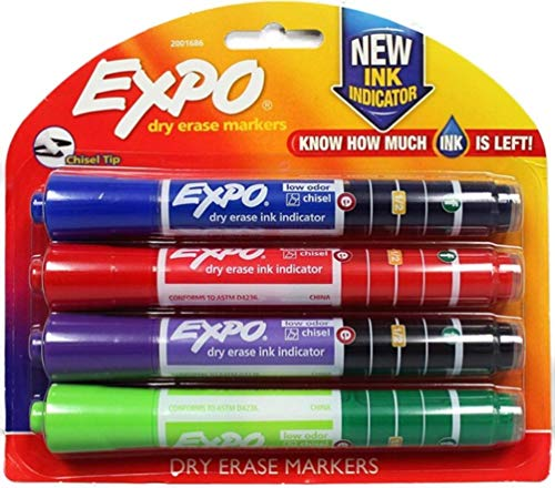 EXPO 2001686 Dry Erase Markers, Chisel Tip, Ink Indicator, Low Odor, Ideal for Classrooms, Offices and Homes, 1 Blister of 4 Assorted Color Markers