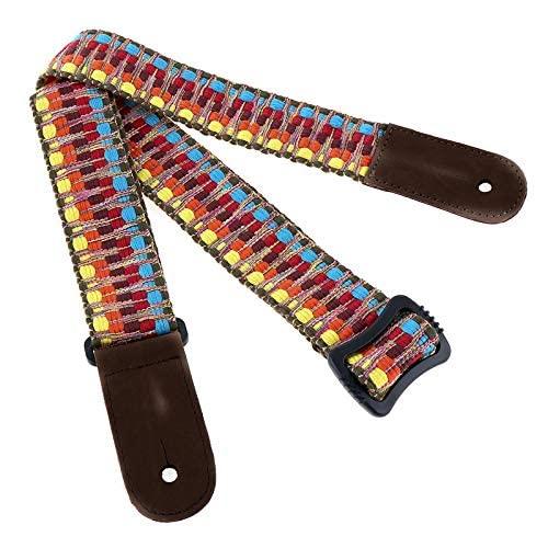 OriGlam - Correa para ukelele de algodón étnico vintage hawaiano, ajustable, suave algodón y piel auténtica, correa para el hombro, para instrumentos de cuerda de barítono tenor soprano