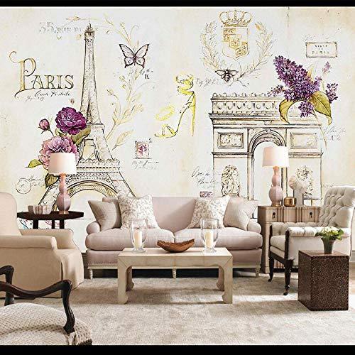 Nomte foto op passe-partout, 3D-afbeelding, motief: Parijs toren van ijzer, van papier, Eiffeltoren, voor woonkamer, slaapkamer, restaurant, café 300x210cm