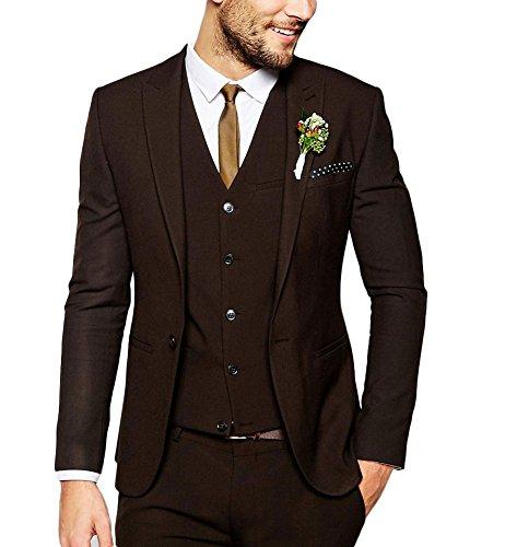 Aesido Casual Men's Suits Slim Fit 3 Piece Notch Lapel Prom Tuxedos Groomsmen for Wedding (Blazer+Vest+Pants)(Black,48US)